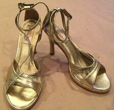 """Dyeables """"Riley"""" Woman's Dressy shimmer Gold High Heel Wedding Prom Shoes Straps"""