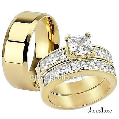His /& Hers 3 Piece 14k Gold Plated Stainless Steel CZ Wedding Ring Band Set