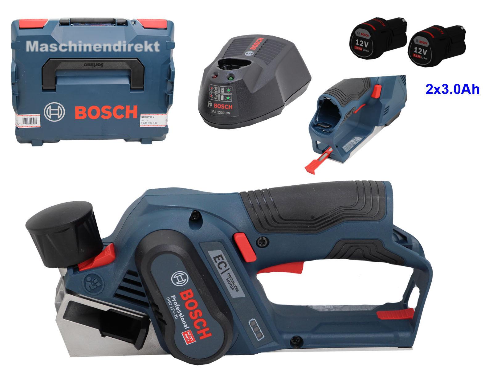 Bosch Akku Hobel GHO 12V-20 Professional + GAL 1230 CV + 2x 12V 3.0 Ah Akku