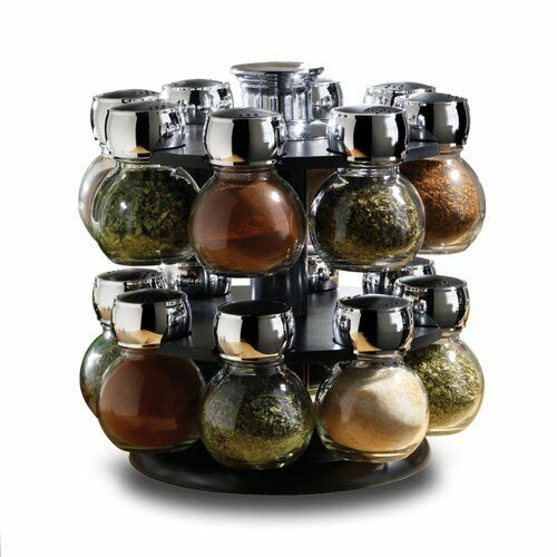 16 PIECE  REVOLVING GLASS SPICE JAR  RACK SET KITCHEN HOME COOKING CHEF FOOD NEW