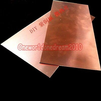 3x Pure Copper Metal Sheet Cathode Plates Lot for Hull Cell 0.3mm x 100mm x 65mm