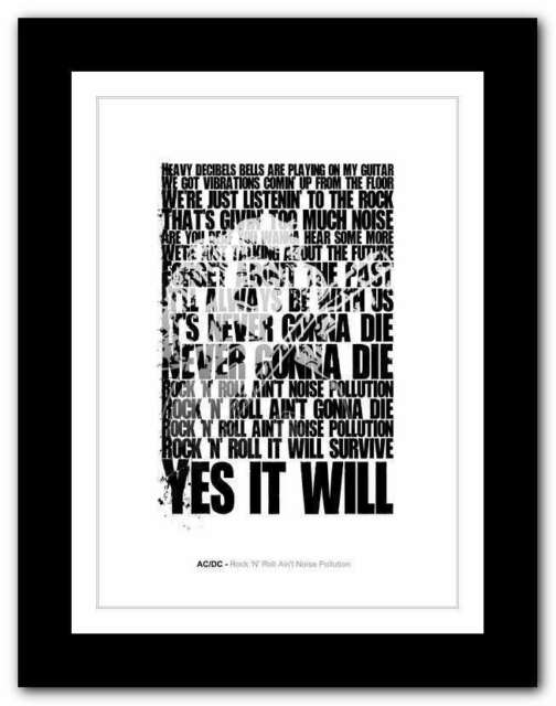 Ac Dc Rock N Roll Ain T Noise Pollution Typography Quote Poster Art Print 17