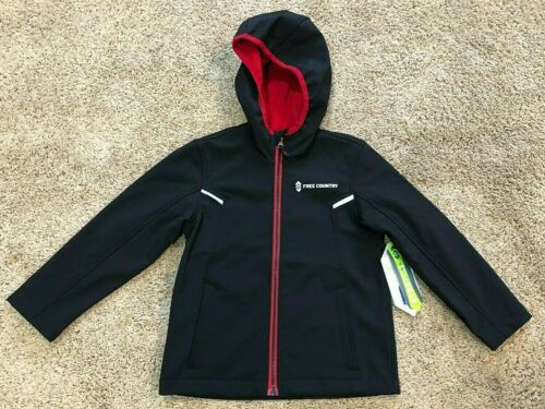 Boys Black Free Country Hooded Softshell Jacket 7//8