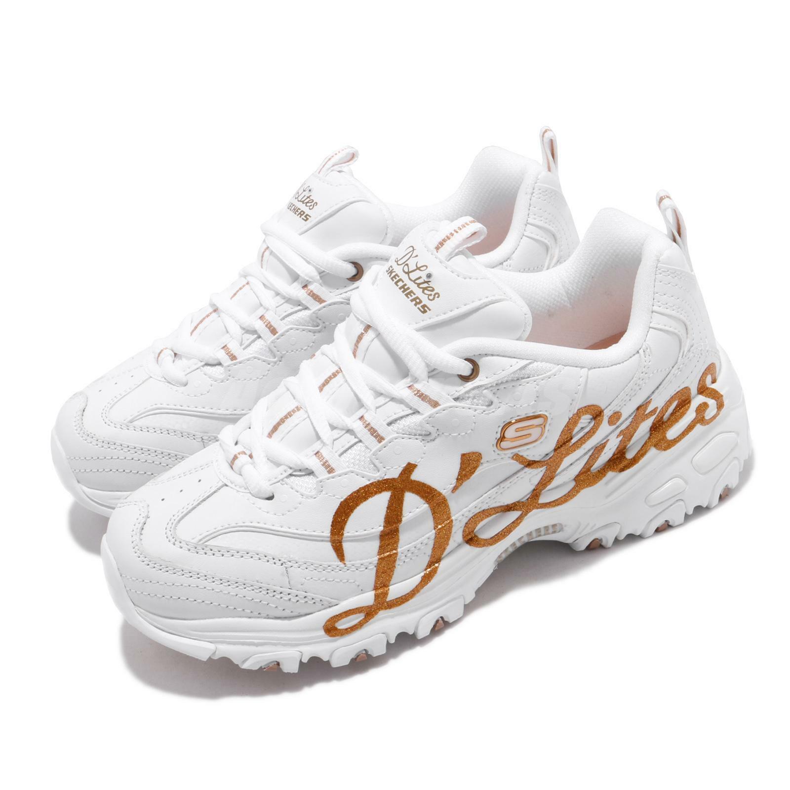 Skechers D Lites-Glitzy City White pink gold Women Lifestyle shoes 13165-WTRG