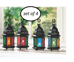 4-Multi-color-rainbow-GLASS-Moroccan-Candle-holder-lantern-wedding-centerpiece