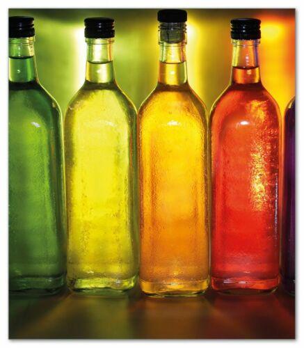 52x60cm Bunte Flaschen Regal küche Wallario Herdabdeckplatte 1-teilig aus Glas