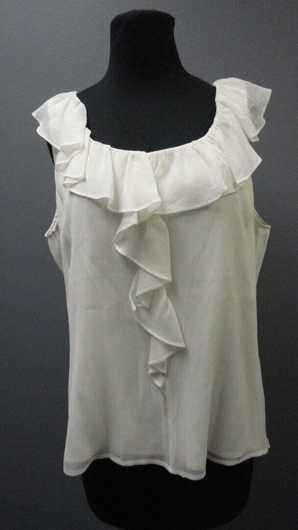 ST. JOHN Bright Weiß Silk Sleeveless Scoop Neck Ruffle Blouse NWT Sz L GG3757