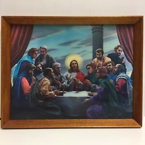 Jesus-Christ-and-The-12-Apostles-Last-Supper-Halograph-Halographic-Picture-VTG