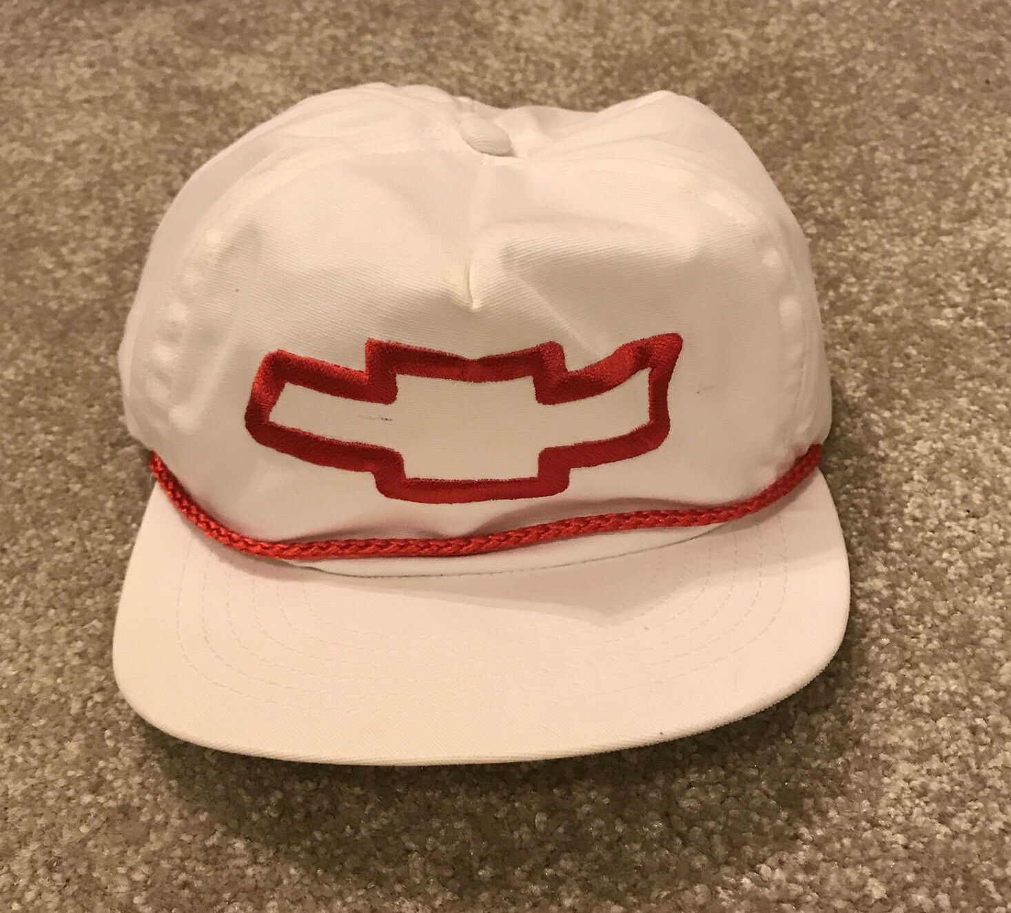 cf81ea7fa Vintage Red CHEVROLET HAT CAP Baseball Trucker White & Red Vintage  Embroidered Bow Tie Slide d47876