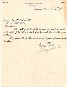 1894 WOODS & SPAIN Attorneys At Law DARLINGTON South Carolina E. O. WOODS