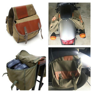 Universal-Olive-Canvas-Leather-Pannier-Bag-Motorcycle-Saddlebag-Book-Tool-Pack