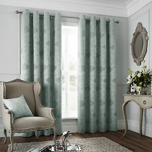 French Hearts and Butterflys Luxury Eyelet Duck Egg Designer Jacquard Curtains