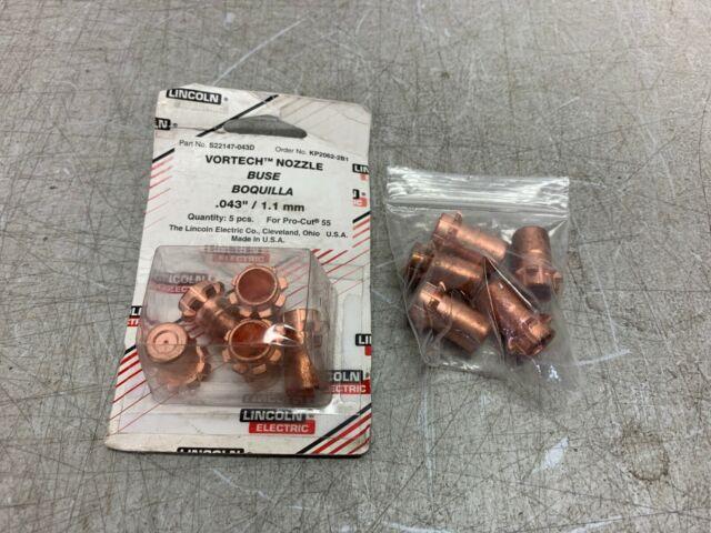 """5PK Lincoln Electric KP2062-5B1 Vortech Nozzle Gouging .082/""""//2.1mm ProCut 80"""