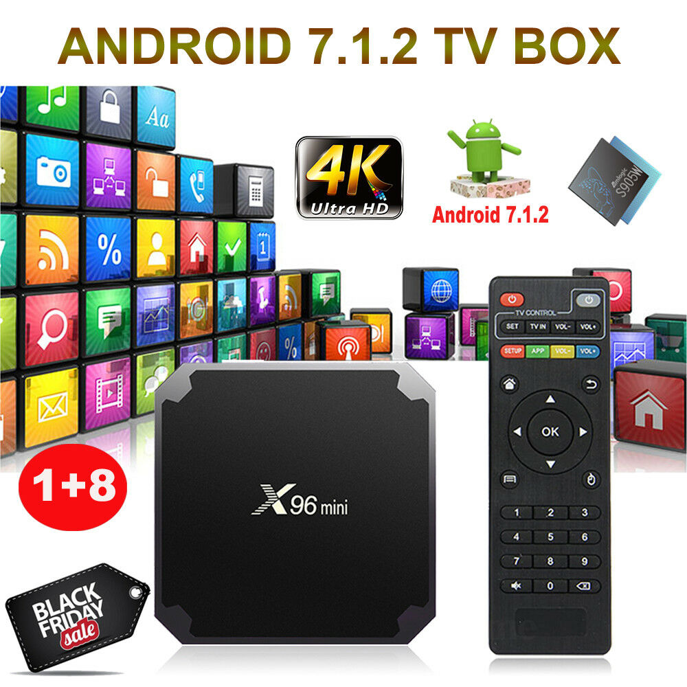 s-l1600 NEW X96 MINI S905W 1+8G Android 7.1.2 Nougat 4K Quad Core Smart TV BOX HDMI WIFI
