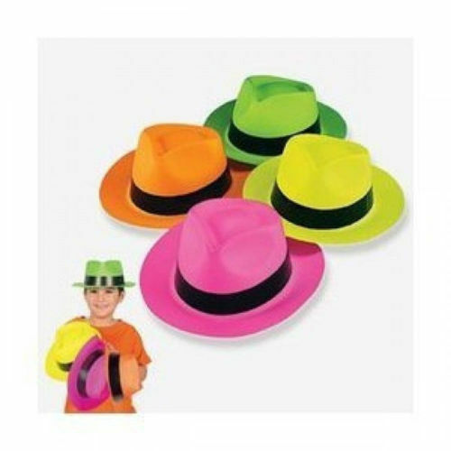 598e62890a1e8 12pk Assorted Neon Plastic Fedora Gangster Hats Photo Booth Props Party  Favors for sale online