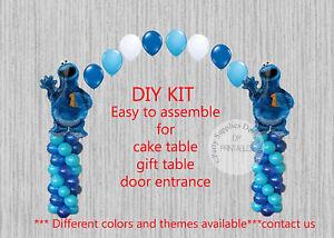 Sesame Street Cookie Monster Balloon Arch Columns Birthday Party