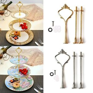 2/3 Tier Cake Plate Stand Fittings Handle Rod Crown Fitting Metal Wedding Party