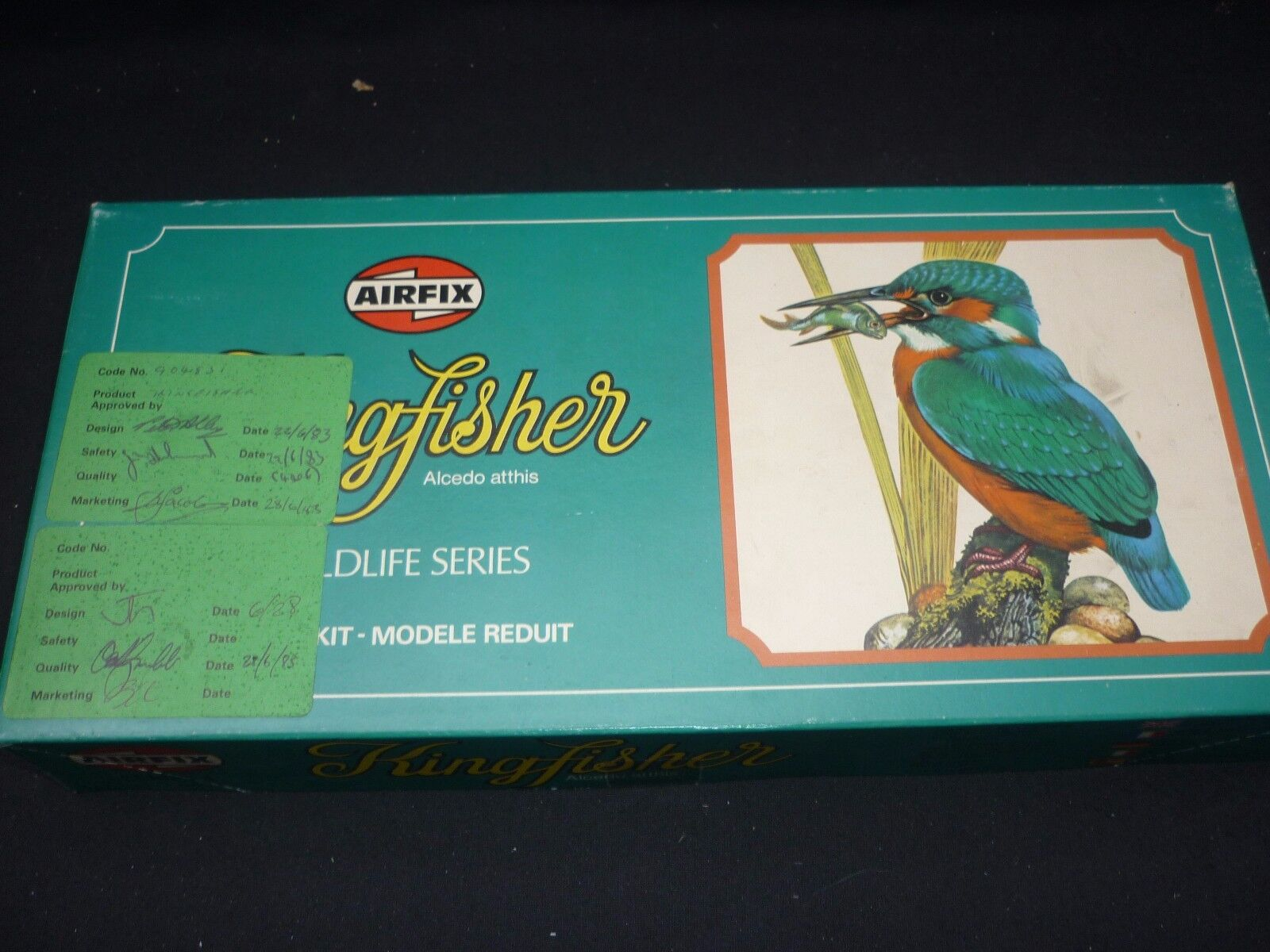 Airfix un made predotype model of a KINGFISHER, sign off by.the creature..