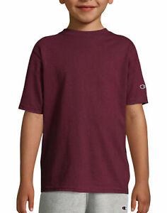 Champion-Kids-T-Shirt-Tee-Double-Dry-Jersey-Cotton-Blend-Boy-Girls-Plain-sz-S-XL
