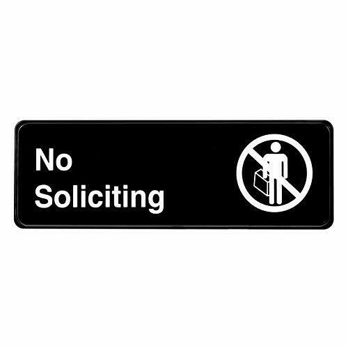 Alpine Industries Black 3X9 Self-Adhesive Business Sign No Soliciting Sign 2 PC