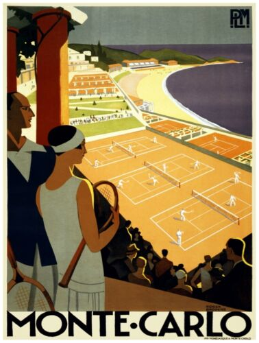 9496.Monte carlo.Couple watching people play tennis.POSTER.decor Home Office art