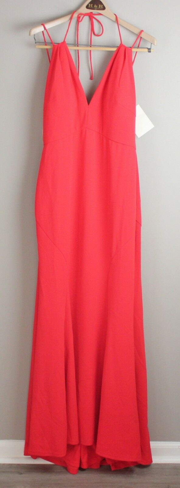 Boston Proper NWT Dramatic rot Plunge Strappy Maxi Formal Gown Größe 12 Fits Big