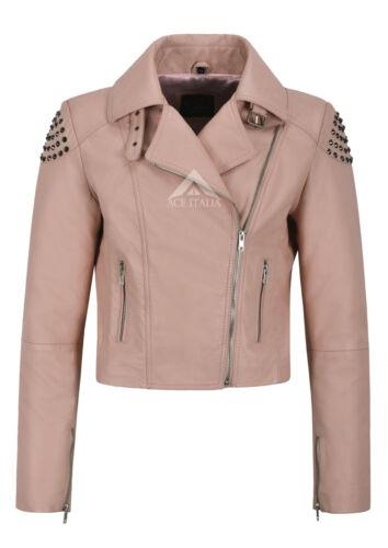 Studded Ladies Soft Læder Skull Napa Studed Biker Pink 2740 Back Jakke Real Oqw4py5qa