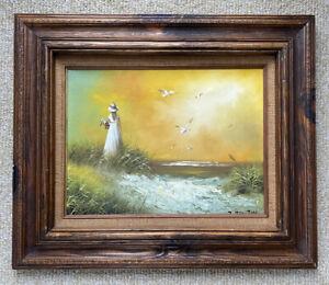 Oil-Painting-Landscape-Seascape-Girl-On-Beach-signed-J-Fenton-24-034-x-20-034-Framed