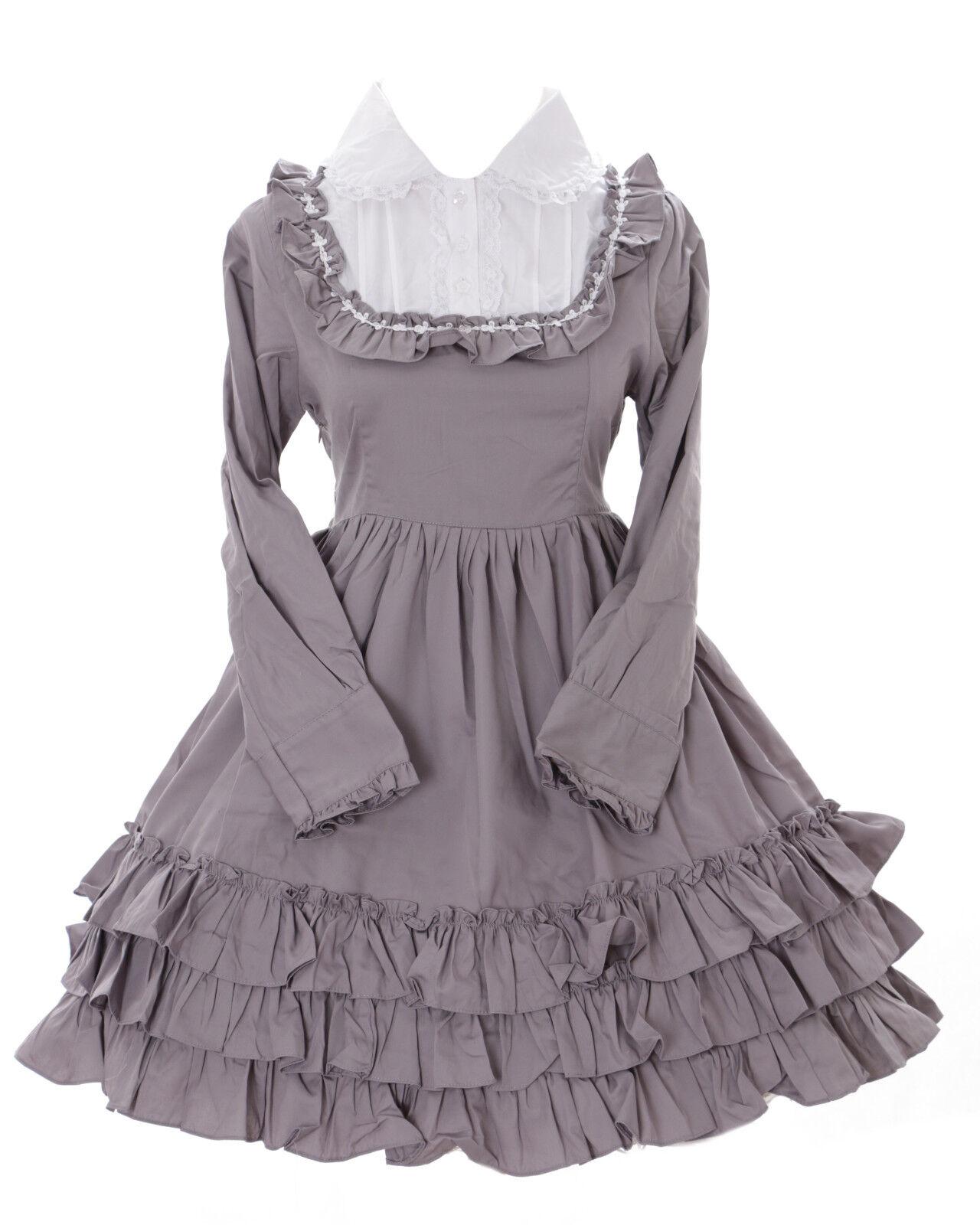 Jl-564-2 GRIGIO Gothic Lolita Giappone volant Abito Costume Dress Cosplay Babydoll