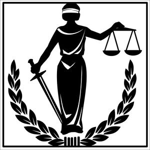 4x4 inch blind justice sticker - decal lady balance scale symbol