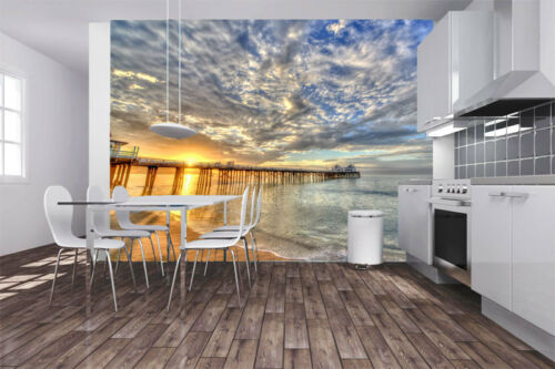 3D Beach Sunrise Sea Piers Full Wall Mural Photo Wallpaper Print Paper Home Deco