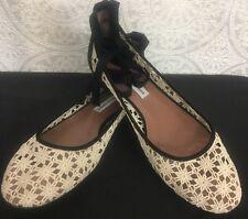 Tabitha Simmons Ballerina Shoe Bone Embroidered Suede Trim Ribbon Wrap Size 40