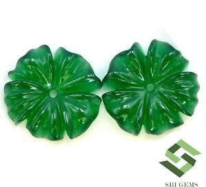 30.81 CTS Natural Green Onyx Flower Shape Carving Pair 22x22 mm Untreated Gems