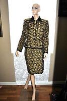 Vintage Oscar de la Renta Suit Black Velvet Gold Embroidered size 12 Stunning!!!