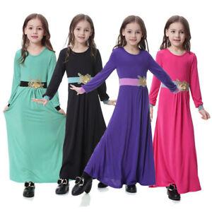 Islamic KIds Girls Abaya Muslim Milk Silk Dresses Burka Arab Prayer Maxi Kaftan