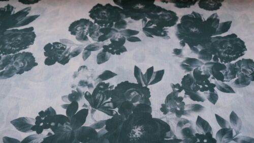 CRINKLE EFFECT BLACK AND PINK FLORAL DESIGN PRINTED CHIFFON FABRIC