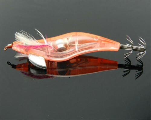 4X Flashing LED Light Shrimp Fishing Lures Prawn Baits Squid Jigs Hooks New AU