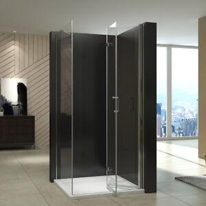 Details zu Dusche Falttür Mit Seitenwand Duschkabine ESG Glas  Duschabtrennung Eckeinstieg