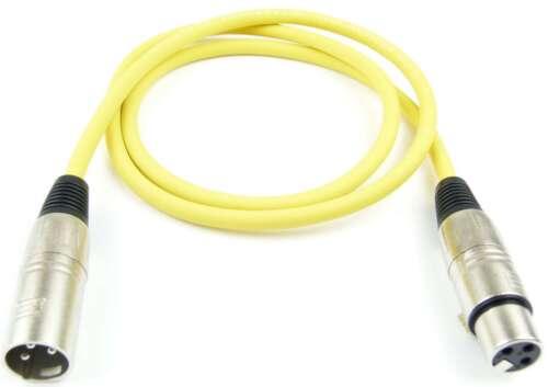 2x 1 m Mikrofonkabel Adam Hall K3 MMF 0100 GELB XLR m//f 3 pol DMX Mikrofon Kabel