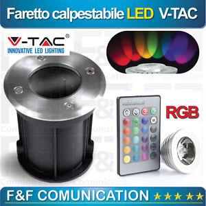 Faretto Led Rgb.Details About Faro Faretto Led Giardino Rgb Calpestabile Verde Rosso Giallo Blu 3w V Tac Vetro