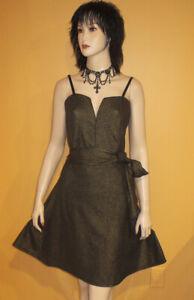 nwt GOLD METALLIC n BLACK LINED Skater Party Dress BELT 2x 20 22 Jr ...
