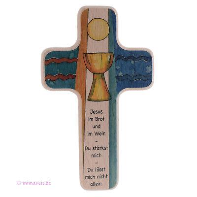 Wandkreuz Kinderkreuz Abendmahl zur Taufe, Kommunion, Kreuz aus Holz mit  Kelch | eBay