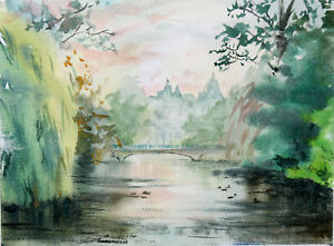 London-St-James-Park-lake-Buckingham-palace-birds-watercolour-original-painting