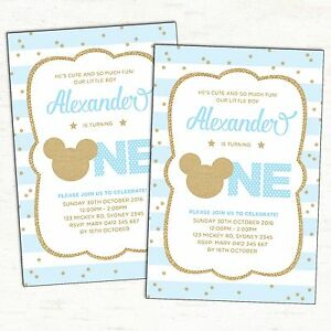 Mickey-Mouse-First-Birthday-Invitation-Blue-Gold-Party-Supplies-Baby-Boy-Invite