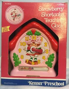 Vintage-Strawberry-Shortcake-Teaching-Clock-Kenner-1984-American-Toy-NIB