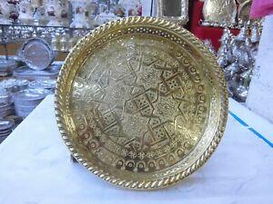 "Medium Moroccan Handmade Serving Brass Tea Tray 12"" (30 cm) round solid Brass"