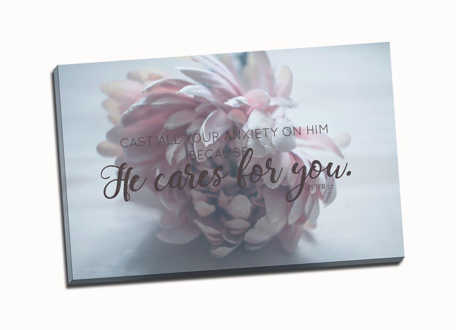 Christian Wall Art- He Cares for you,1 Peter 5 7, Flower, Faith Art, Bible verse