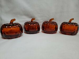 Dark-Amber-Glass-Pumpkins-Candy-Dishes-Vintage-Set-of-4-With-Lids-and-Bowl-Base