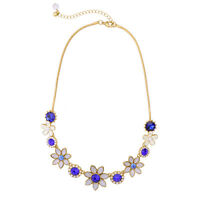 NEW Stylish J CREW Abstract Blue Purple Gemmed Gold Necklace