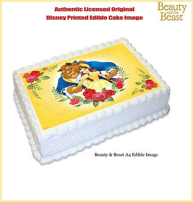 Astounding Beauty And The Beast Edible Birthday Party Cake Decoration Topper Funny Birthday Cards Online Elaedamsfinfo